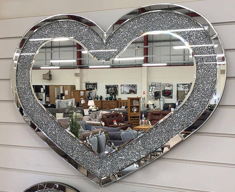 Crushed Diamante Wide Heart Shaped Mirror - CD144