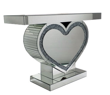 Mirrored Heart Shaped Console Table - CD145
