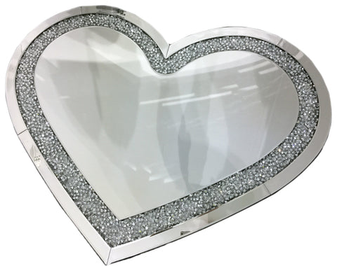Crushed Diamante Heart Shaped Mirror (Large) - CD143