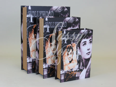 Audrey Hepburn Faux Book Set of 3 Storage Boxes