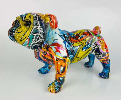 Multicolour Graffiti Small British Bulldog Ornament - JG044