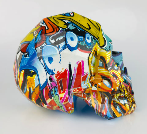 Multicolour Graffiti Skull Ornament - JG040