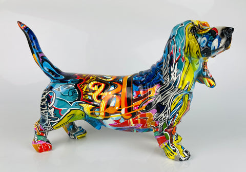 Multicolour Graffiti Basset Hound Ornament - JG045
