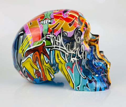 Multicolour Graffiti Skull Ornament - JG047
