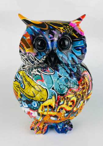 Multicolour Graffiti Barn Owl Ornament - JG039