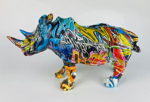 Multicolour Graffiti Rhino Ornament - JG037