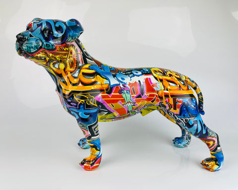 Multicolour Graffiti Small Staffordshire Bull Terrier Ornament - JG049