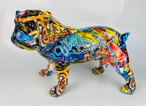 Multicolour Graffiti Large British Bulldog Ornament - JG038