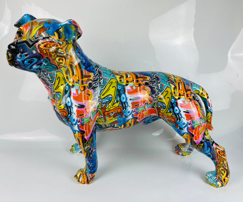 Multicolour Graffiti Large Staffordshire Bull Terrier Ornament - JG048