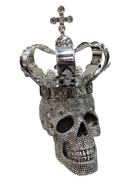 Silver Large Crown Fallen King Skull Ornament Ny054