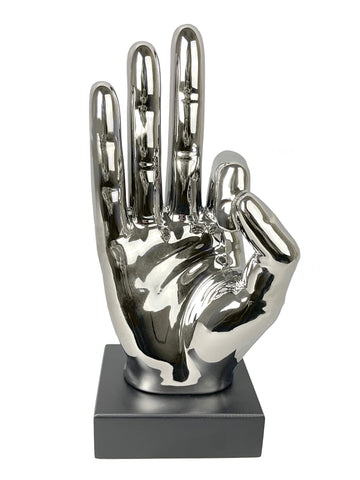 Silver Ceramic Okay Hand Sign Ornament - CMC051