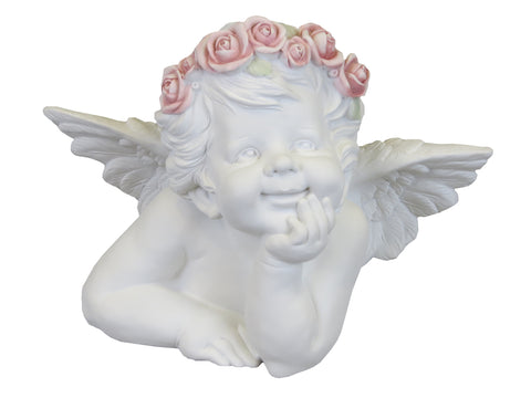 White Male Cherub Ornament with Flower Crown - SC001