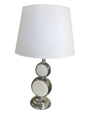 Colourama White Ceramic & Silver Metal Circle Table Lamp - WLCL32S