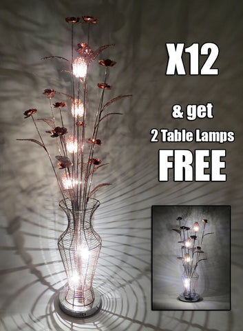 *Special Offer* Buy 12 WLF3128-6 Coffee Floor Lamps & Get 2 Matching Table Lamps FREE