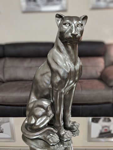 Large Sitting Pewter Styled Leopard Ornament - XB003