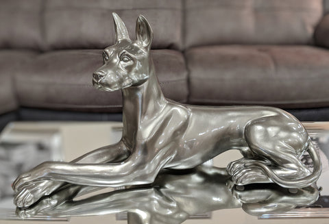 Large Laying Pewter Style Doberman Dog Ornament - XB007