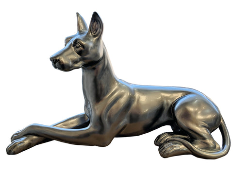 Pewter Styled Large Laying Doberman Dog Ornament - XB010