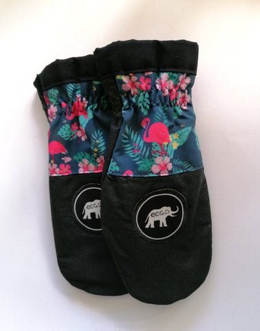 Flamingo & flowers mitts size S