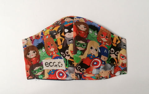 Mini superheros face mask size XS