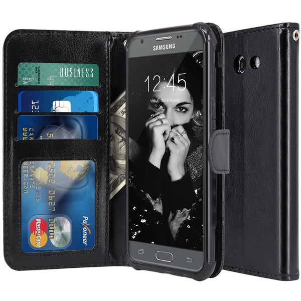 low priced 5c3e4 00fd4 Samsung Galaxy J7 V / J7 2017 / J7 Prime / J7 Perx / J7 Sky Pro / Galaxy  Halo Case, LK Luxury PU Leather Wallet Flip Protective Case Cover with Card  ...