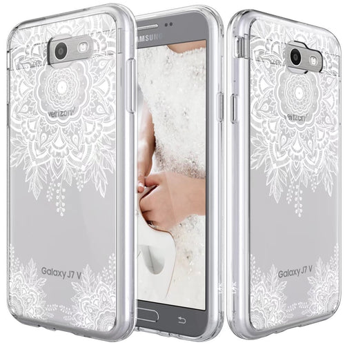Samsung Galaxy J7 V / J7 2017 / J7 Prime / J7 Perx / J7 Sky Pro Case, Shock Absorbing White Henna Mandala Floral Lace Clear Design Printed Air Hybrid with TPU Bumper Protective Case Cover