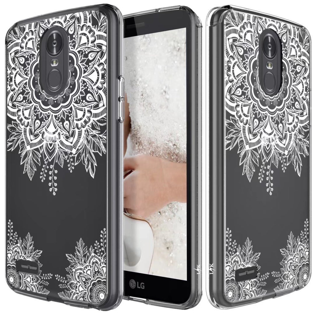 innovative design 942e2 e3025 LG Stylo 3 Case, LG Stylo 3 Plus Case, Shock Absorbing White Henna Mandala  Floral Lace Clear Design Printed Air Hybrid with TPU Bumper Protective Case  ...