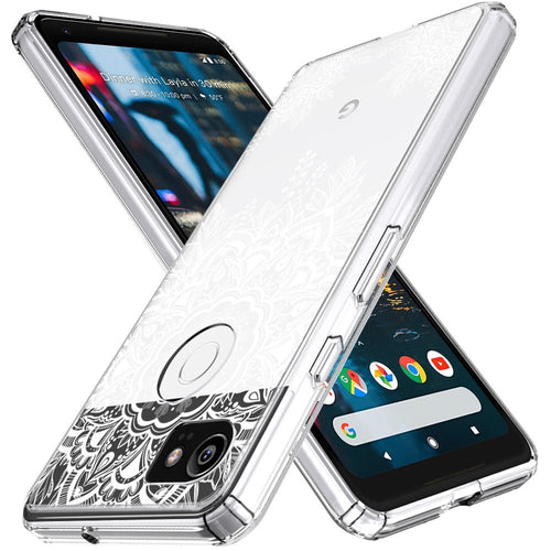 Google Pixel 2 XL Case,  Shock Absorbing White Henna Mandala Floral Lace Clear Design Printed Air Hybrid with TPU Bumper Protective Case Cover for Google Pixel 2 XL