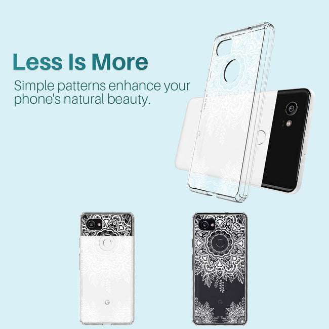 K&L White Henna Mandala Floral Lace Clear Design Case for Google Pixel 2 XL