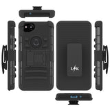 Google Pixel 2 Case, LK [Heavy Duty] Black Armor Holster Defender Full Body Protective Hybrid Cases Cover with Kickstand & Belt Clip