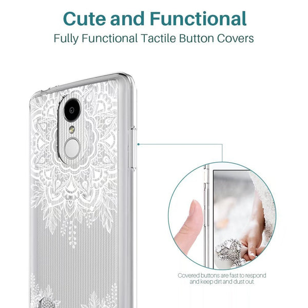 LG Aristo / LG Phoenix 3 / LG K8 2017 / LG Fortune / LG Risio / LG Rebel 2 LTE Case, Shock Absorbing White Henna Floral Lace Clear Design Printed Air Hybrid with TPU Bumper Protective Case Cover