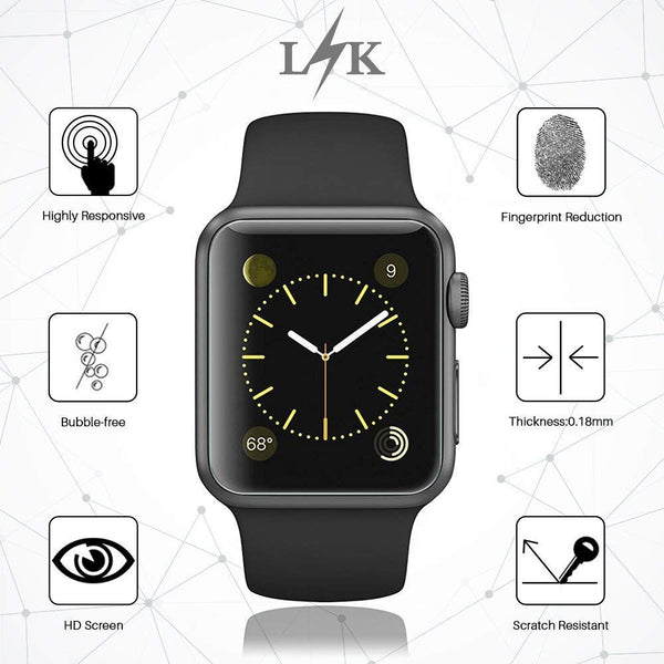 [6 Pack] LK for Apple Watch Screen Protector (42mm Series 3/2/1 44mm Series 4 Compatible), Liquid Skin [Full Coverage] [Anti-Bubble] HD Clear with Lifetime Replacement Warranty