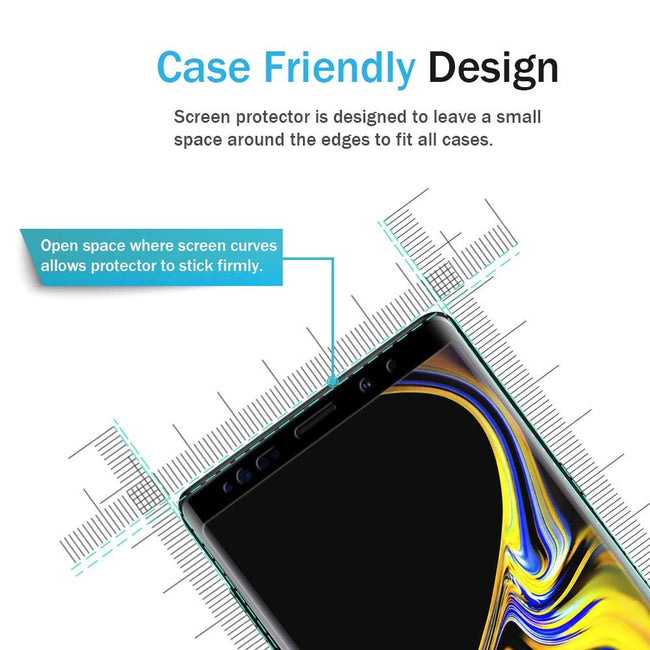 LK for Samsung Galaxy Note 9 Screen Protector, Tempered Glass [Case Friendly][Alignment Frame Easy Installation][3D Curved][Full Coverage] with Lifetime Replacement Warranty