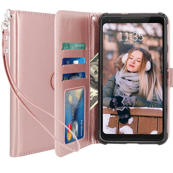 Google Pixel 2 XL Case, LK Luxury PU Leather Wallet Flip Protective Case Cover with Card Slots & Stand For Google Pixel 2 XL