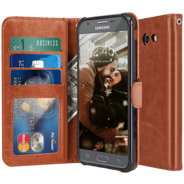 Samsung Galaxy J7 V / J7 2017 / J7 Prime / J7 Perx / J7 Sky Pro / Galaxy Halo Case, LK Luxury PU Leather Wallet Flip Protective Case Cover with Card Slots and Stand