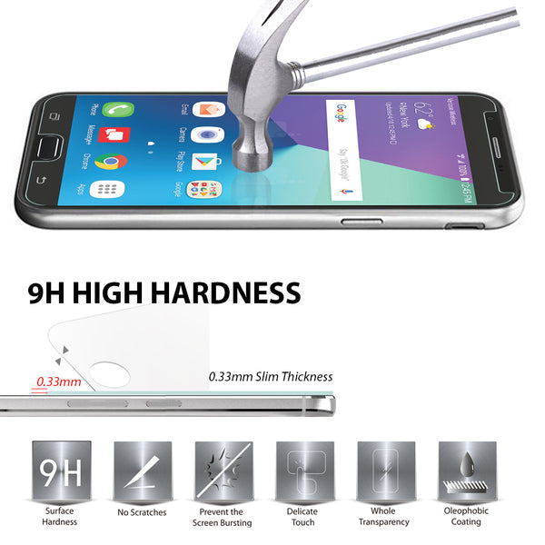 [3 PACK] Samsung Galaxy J7 V / J7V (Verizon) / J7 2017 / Galaxy J7 Perx / Galaxy J7 Sky Pro / Galaxy J7 Prime / Galaxy Halo Screen Protector, LK [Tempered Glass] with Lifetime Replacement Warranty