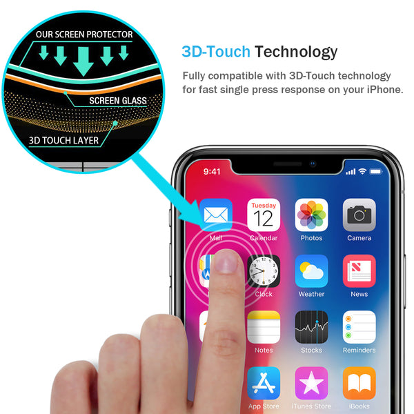 iPhone X Screen Protector, [Tempered Glass] with Lifetime Replacement Warranty