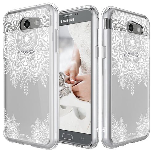 Samsung Galaxy J3 Emerge / J3 2017 / J3 Prime / J3 Mission / J3 Eclipse / J3 Luna Pro / Amp Prime 2 / Express Prime 2 Case, White Henna Floral Clear Air Hybrid with TPU Bumper Protective Cover