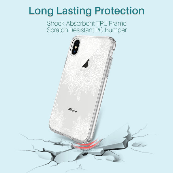 iPhone X Case, [Shock Absorbing] White Henna Mandala Floral Lace Clear Design Printed Air Hybrid with TPU Bumper Protective Case Cover for Apple iPhone X