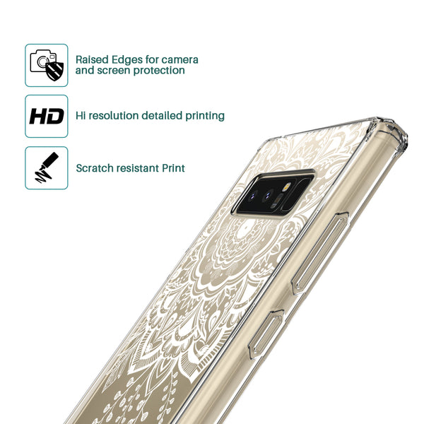 Galaxy Note 8 Case, LK [Shock Absorbing] White Henna Mandala Floral Lace Clear Design Printed Air Hybrid with TPU Bumper Protective Case Cover for Samsung Galaxy Note 8