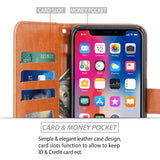iPhone X Case, [Wrist Strap] Luxury PU Leather Wallet Flip Protective Case Cover with Card Slots and Stand for Apple iPhone X
