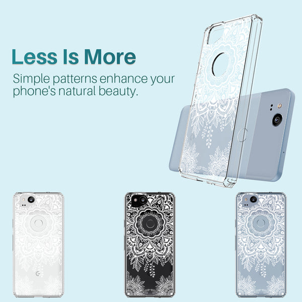Google Pixel 2 Case, LK [Shock Absorbing] White Henna Mandala Floral Lace Clear Design Printed Air Hybrid with TPU Bumper Protective Case Cover for Google Pixel 2
