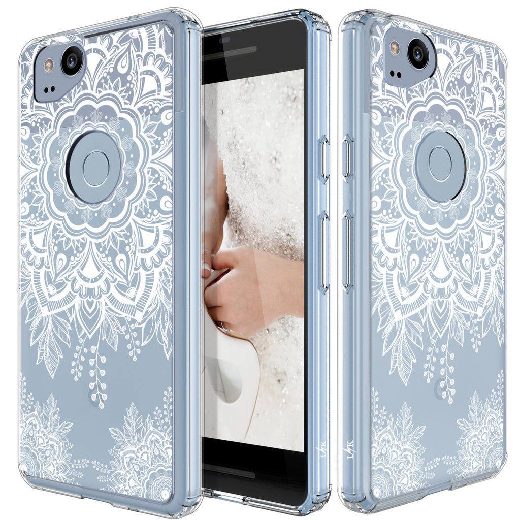 huge selection of e2900 56c1c Google Pixel 2 Case, LK [Shock Absorbing] White Henna Mandala Floral Lace  Clear Design Printed Air Hybrid with TPU Bumper Protective Case Cover for  ...