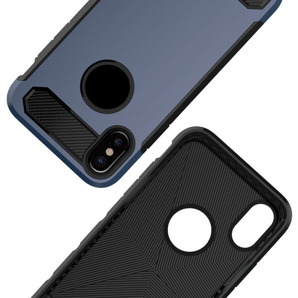 iPhone X Case, [Carbon Fiber] Shock Absorption Hybrid Armor Defender Protective Case Cover for Apple iPhone X