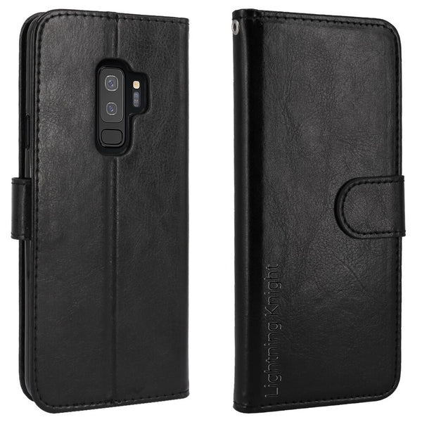 LK Luxury PU Leather Wallet Flip Protective Case Cover with Card Slots and Stand-Black