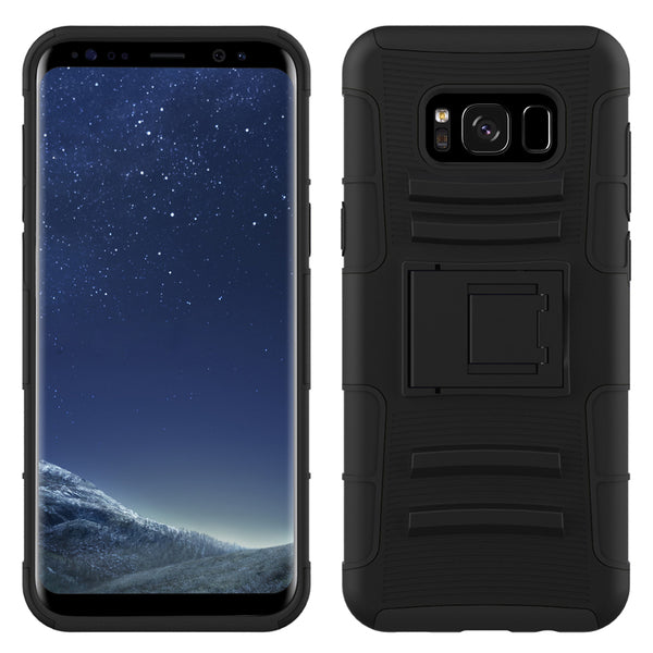 Galaxy S8 Case, LK [Heavy Duty] Black Armor Holster Defender Full Body Protective Hybrid Case Cover with Belt Clip