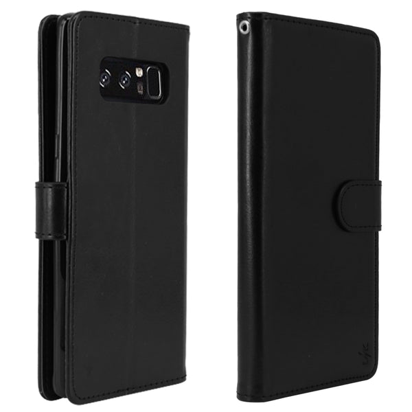 Galaxy Note 8 Case with Wrist Strap Luxury PU Leather Wallet Flip Protective Case Cover with Card Slots and Stand