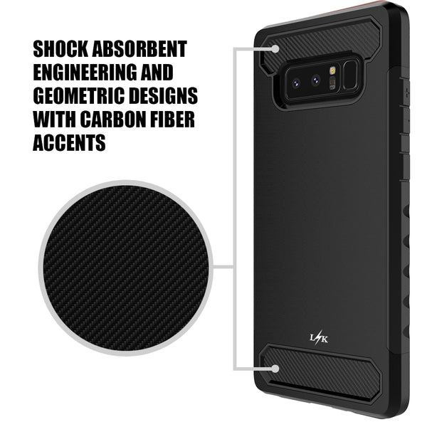 Galaxy Note 8 Carbon Fiber Case,  Shock Absorption Hybrid Armor Defender Protective Case