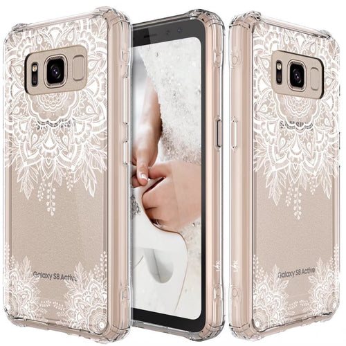 Galaxy S8 Active Case, LK Shock Absorbing White Henna Mandala Floral Lace Clear Design Printed Air Hybrid with TPU Bumper Protective Case Cover for Samsung Galaxy S8 Active
