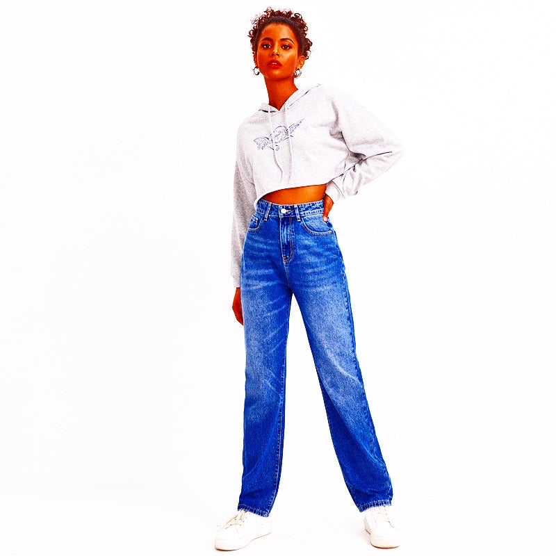 EM AfriNOVA High Waist Bleabana Denim Trousers