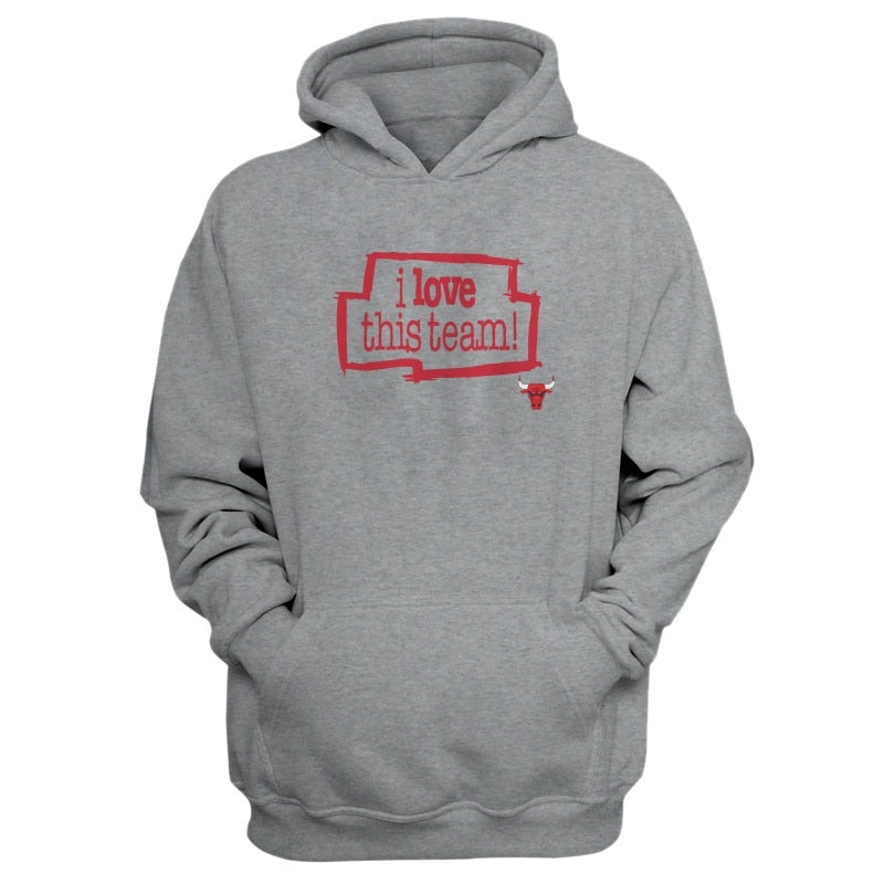 Chicago, I Love This Team Grey Hoodie